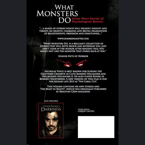 Reverse of paperback cover of What Monsters Do.