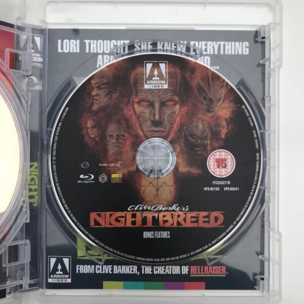 Interior Nightbreed blu-ray showing disc titled Bonus Features.