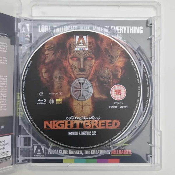 Interior Nightbreed blu-ray showing disc titled 'Theatrical and Director's cut.