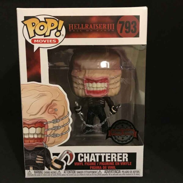 Funko Pop Chatterer in box, from front. Title 'Hellraiser III: Hell on Earth / 793'